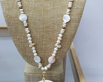 shell necklace, beach jewellry ,Sea pearl necklace , gift for her
