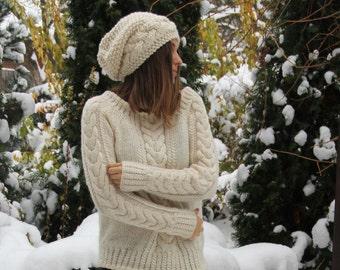 """Sweater knitted  women's"""" Winter walk"""","""