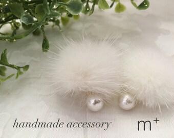 Fur × Cotton Pearl Earrings < White >  PPCpFur 015