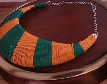 Yellow and Green Indian Hemp  Cord Necklace