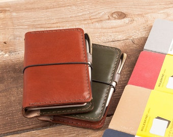Leather Notebook Cover Gift for Him. iPhone 7 Wallet. Filed Notes .Hand Stitched. Moleskine Pocket Cahiers , Veg Tan Italian Leather.A6 size