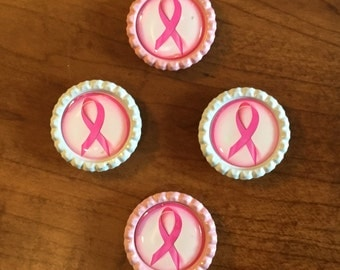 Handmade Breast Cancer Awareness BottleCap Magnets, Set of 4