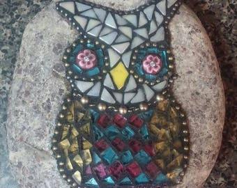Small owl garden stone mosaic