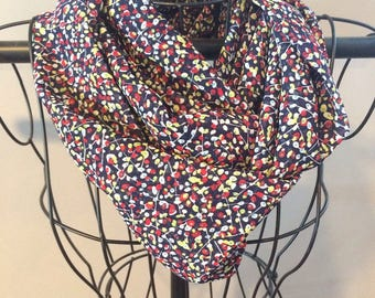 Navy with small flowers infinity scarf