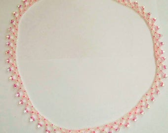 Pale pink and lilac seed bead necklace with small AB drops