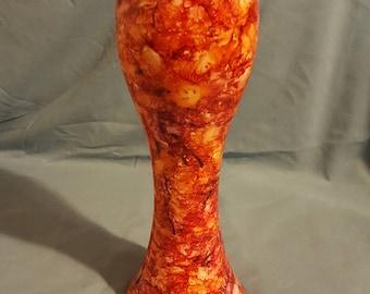 Alcohol Ink Vase Orange and Black, Unique gift