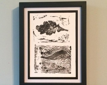 Leaf Over Landscape- Original Relief Print
