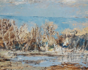 The old lake landscape, Original oil painting, impression nature home decor, Family  gift, Modern art, Abstract art, Contemporary art