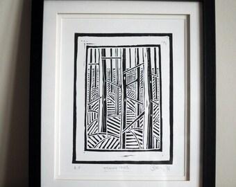 Trees Version Two - Lino Cut Print