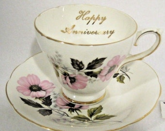 Royal Sutherland Staffordshire~Happy Anniversary Cup and Saucer