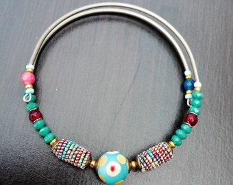 PERATALLADA-B pulasera steel, bracelet memory ring thread silk, recycled glass bracelet, wristband