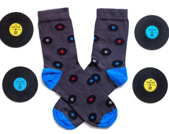 Vinyl Records socks, fun socks,  socks cozy socks, women socks,man sock, casual socks, cool socks, gift socks, cotton socks made in EU socks