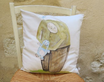 Decorative pillow / cushion printed from original drawing with watercolor