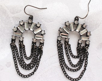 SO # 1109 Vintage Black Tone Clear Crystal Baguette Rhinestone Earrings with Black Chain Chandelier Earrings Art Deco Look