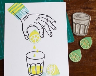 When life gives you lemons... - handprinted linocut print - LIMITED EDITION