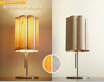 Slatewood Arc - Wooden Lamp Shade - Birdseye Maple