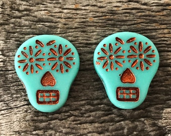 Czech Glass Sugar Skull Beads, Matte Opaque Turquoise with Copper Wash, 20X17mm, 2 Qty.