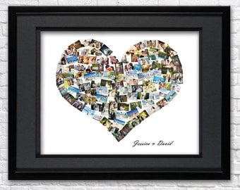 Digital File Personalised 'Love' Heart Photo Collage, Valentine's Day photo collage, Custom Collage, Photo collage gift, Heart Shape Collage