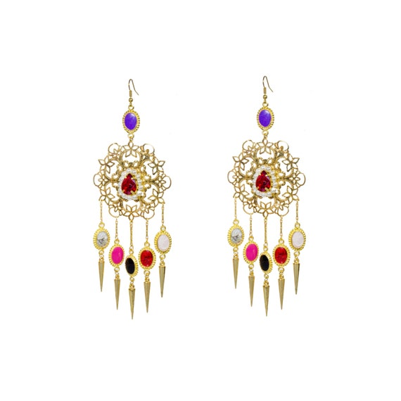 Multicolor spiked stone designer long statement boho chic earrings