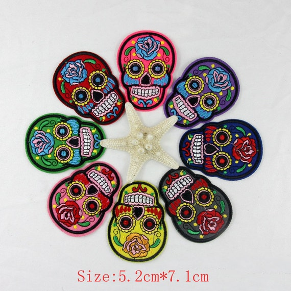 Colorful Flower Skull Skeleton Embroidery Iron Sew On Applique