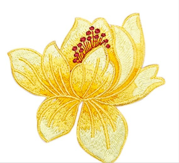 1 Pcs Lotus Flower Embroidery Patches Iron On Applique Sew On Patch Craft Sewing Repair Embroidered 8