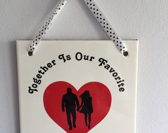 Wedding Decor, Ceramic Wall Tile, Love, Wedding Gift, Anniversary Gift, Home Decor