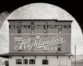 Bar Decor Photo, Beer Print, Highlander Beer, Beer Sign, Moving Sign, Butte, Silver Bow County, Montana, Black White Photography