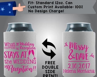 What Happens At The Wedding Reception Stays At The Wedding Collapsible Fabric Wedding Can Coolers, Cheap Can Coolers,  Wedding Favors (W312)