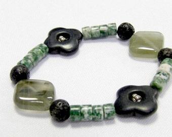 Quatrefoil Bracelet with Natural Stone Beads