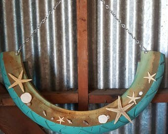 Beach theme sea shell star fish recycled tire hanging planter