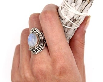 BOHO Rainbow Moonstone & 925 Sterling Silver Ring S. US 6.25 / FR 52,5