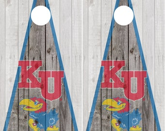 Kansas Jayhawks Cornhole Decal Wraps Vinyl Decal Cornhole Wrap