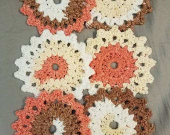 Set of six hand crocheted cotton coasters