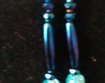 earrings, fashion jewelry, blue, dangles, drops one of a kind