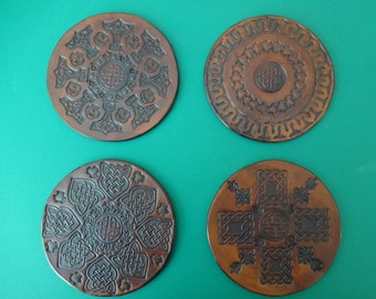 An example of a set of 4 Genuine Leather Coasters