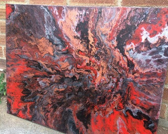 "Fluid painting canvas ""Metallic Lava"" 80cmx60cm"
