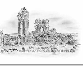 Ruins of the Frauenkirche 1957 - original signed art print