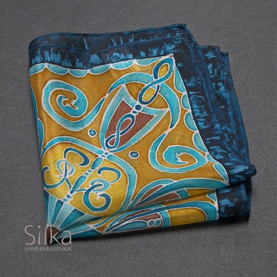 SILK pocket square  Hand painted silk pocket square  hand painted silk wedding pocket square blue - brown pocket square Groomsmen gifts