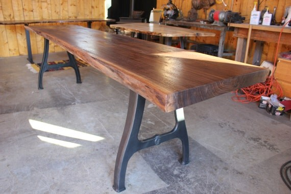 beautiful 10 ft walnut live edge conference or dining table with antique industrial legs