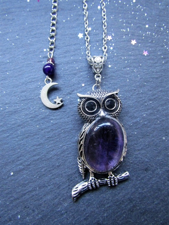 Amethyst Owl Necklace with embellished extender, Owl necklace, Purple owl necklace, Amethyst jewellery, Owl jewellery, Amethyst necklace