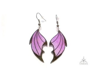 Earrings Dragon wings purple/violet/purple, two-tone drawn free-hand, shrink plastic earrings acrylic shrink film, flat light