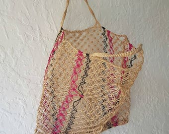 Gorgeous Vintage woven Shopper • Vintage bag • Vintage shopping bag • Grocery bag • Wovenhandbag •