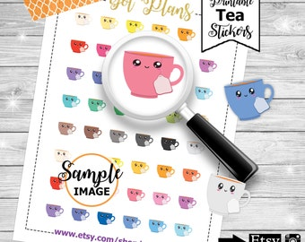 Tea Planner Stickers, Tea Stickers, Tea Cup Printable Stickers, Stickers for Planners,Cup of Tea Planner Stickers