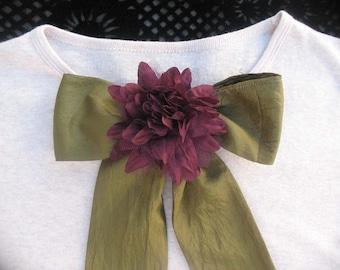 Olive green Scarf with Dark Wine Flower