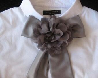 Grey Bow Tie Scarf with Flower