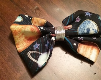 Astronomy Hair Bow, Solar System Hair Bow, Planets Hair Bow, Space Hair Bow, Space Bowtie, Astronomy Bowtie, Science Hair Bows