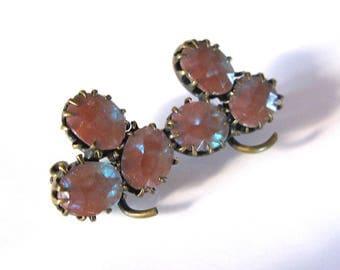 antique vintage Czech Glass leaf clover Victorian Saphiret Glass Pin 1800'ntique vintage