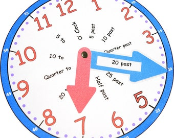 Tell The Time Learning Aid Toy Clock