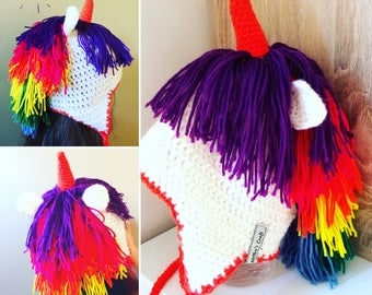 Crochet unicorn hat