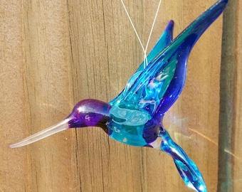 "Inspirational Crystal Glass Hummingbird ""Dream"" Handmade by Studio29"